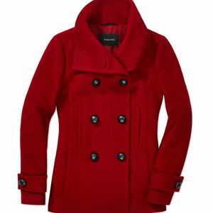 Babaton Aritzia Red Classic Wool Pea Coat